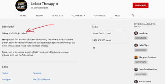 ערוץ יוטיוב תיאור unbox therapy